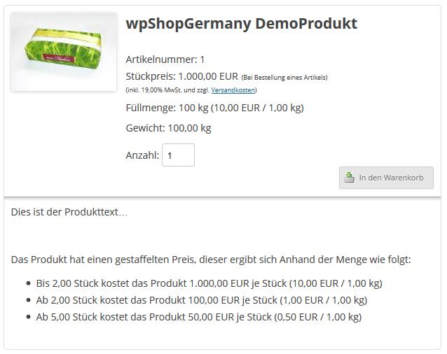 Anzeige von Staffelpreisen im Online Shopsystem wpShopGermany WordPress Plugin